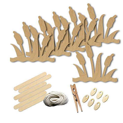 Wetland Cattail Lake Marsh Plant River Style 6255, Wood Shape Craft Kit, 4 Inch Size Kids Project Kit, Great Party, School and (Plant Marsh Wood)