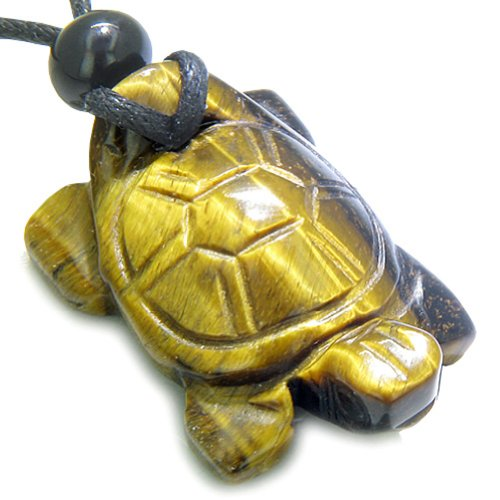 Evil Eye Protection Turtle (Amulet Lucky Charm Turtle Tiger Eye Gemstone Evil Eye Protection Pendant)
