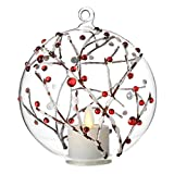 Moving Flame Tealight Ornament Berry Branch 5 Inch Hand-Blown Glass Remote Ready Review