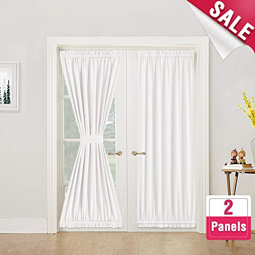 French Door Curtains French Door Curtain Panels Room Darkening French Door Panels 72 Inches for Glass Door, 2 Panels, Tie Backs Included, - Dark Door Panel