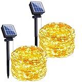 Outdoor Solar String Lights, 2 Pack 33Feet 100 Led