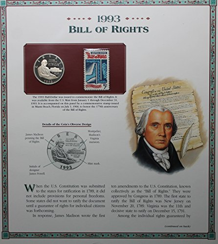 1993 S Bill of Rights Coin and Stamp .50c AU