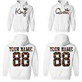 Custom King Queen Couple Floral Pattern Hoodies, Names and Numbers for him and her Matching Couples Hoodie