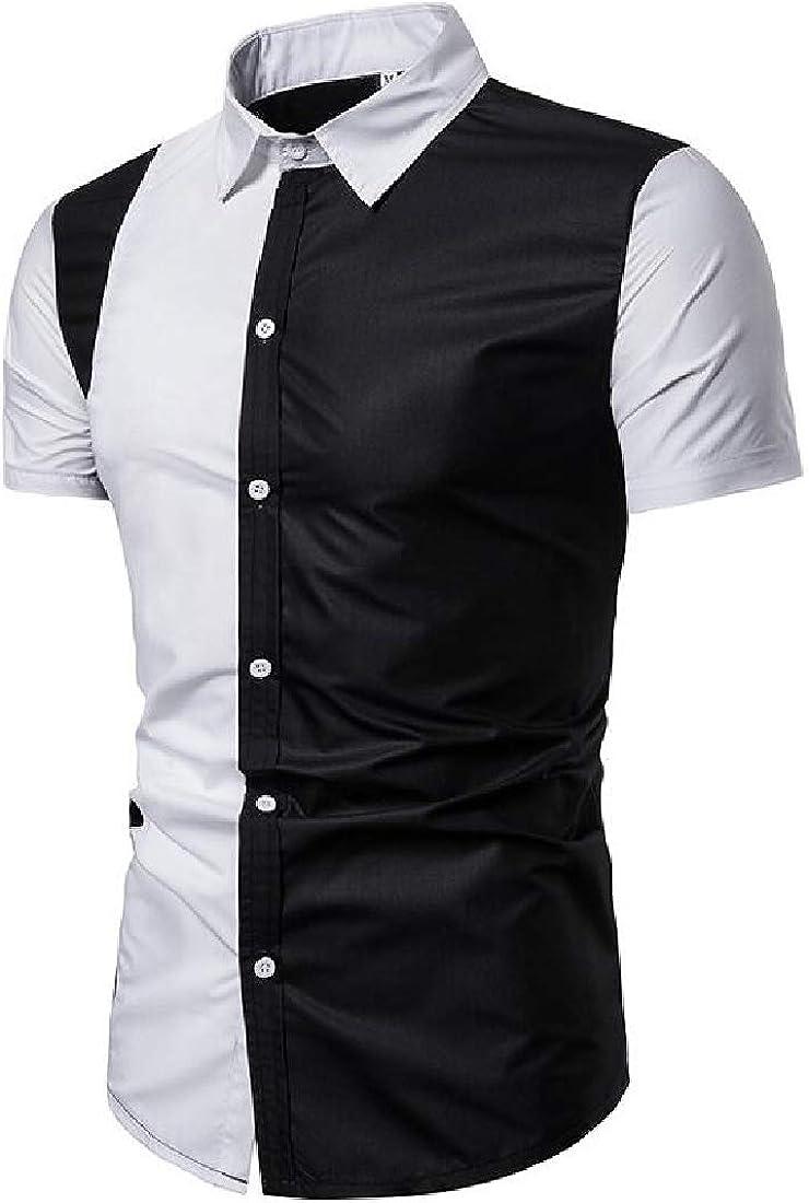 Keaac Mens Color Block Shirt Short Sleeve Button Down Dress Shirt
