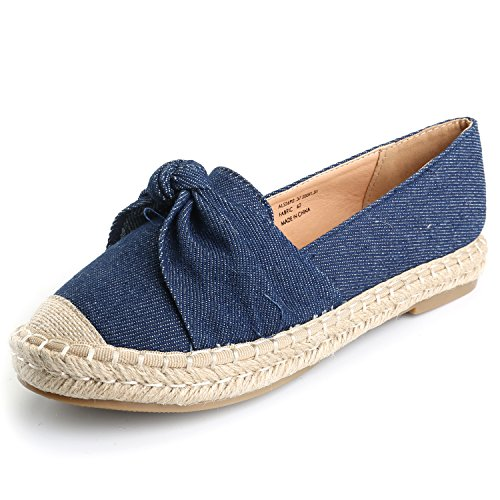 Alexis Leroy Women's Closed Toe Slip-On Bow Espadrille Loafer Flats Dark Blue40 M EU/9-9.5 B(M) US by Alexis Leroy