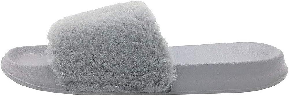 FUNKYMONKEY Womens Slides Faux Fur Cute Fuzzy Slippers Comfort Flat Sandals
