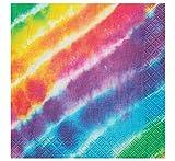 "Unique Rainbow Tie Dye Beverage Napkins, 16ct, Multicolored, 10"" - 99101"