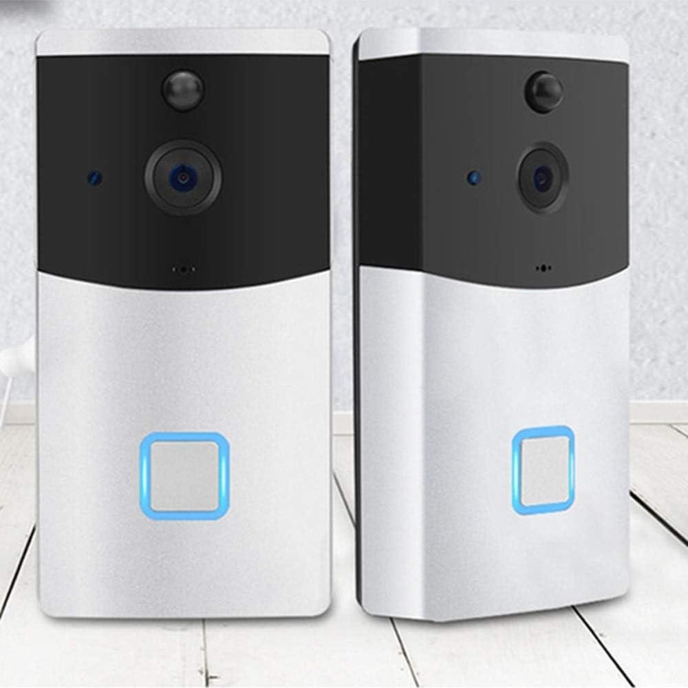 FELICILII Inteligente WiFi Video Timbre Inalámbrico Monitoreo Remoto en el hogar Video Intercomunicador de Voz Timbres y Campanas inalámbricas Timbre inalámbrico (Color : Silver)