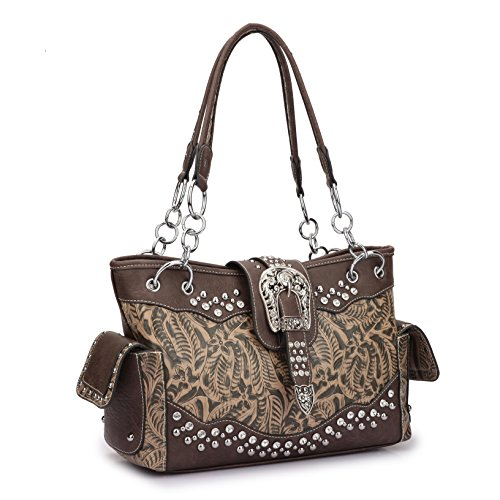 Women Western Handbags Purses Totes Rhinestone Studded Shoulder Bags With Side Pockets Black