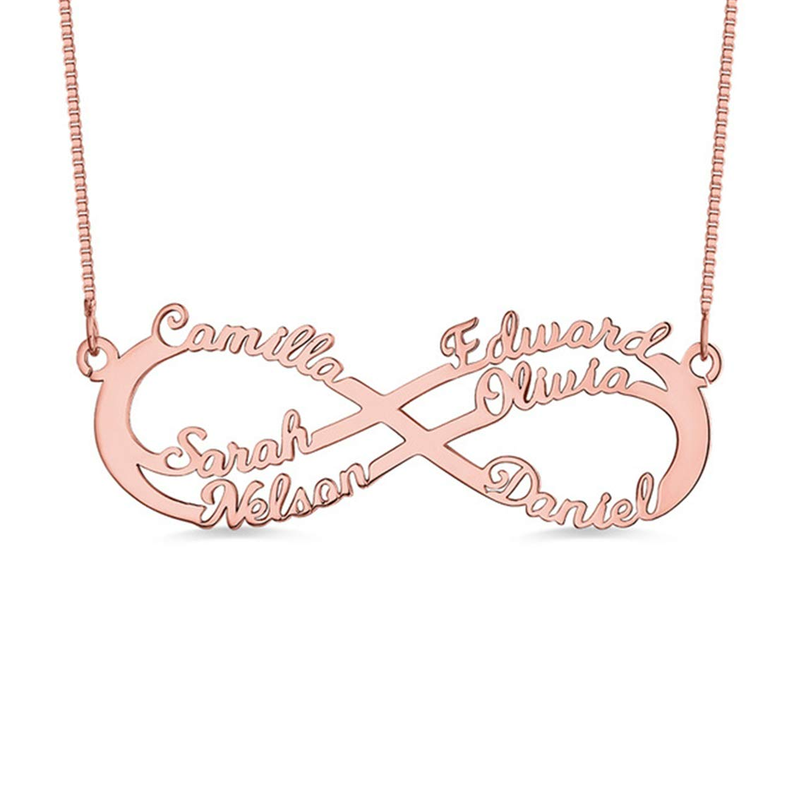 6 Names Necklace Shiny Alice Personalized Infinity Necklace Custom Family Necklace Mother Necklace Mother Gift