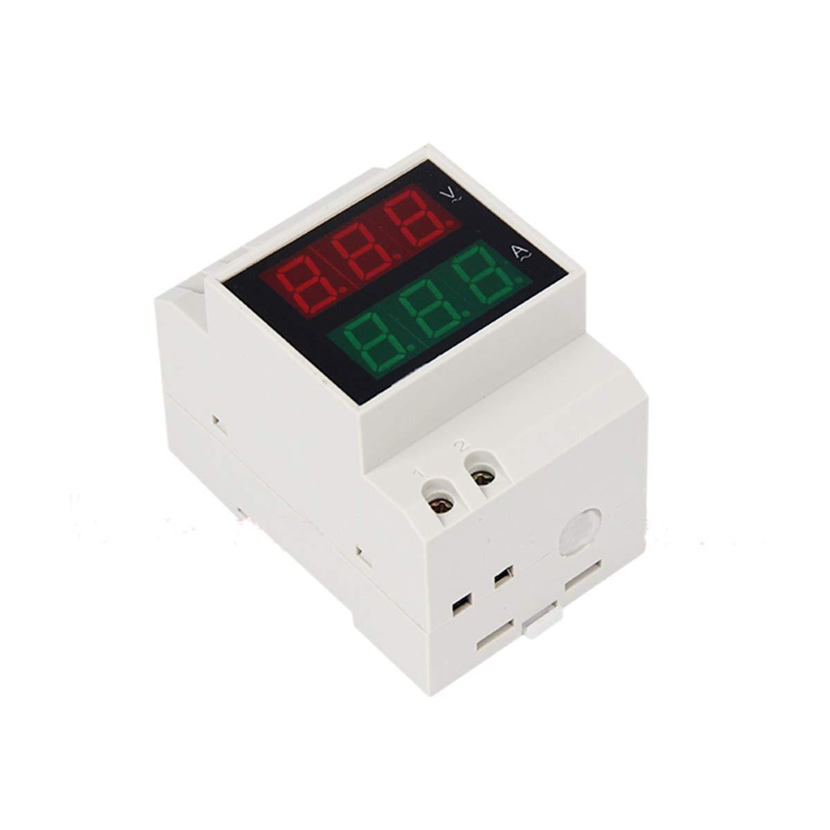 D52-2042 Double Display Digital Red Green AC80-300V 0.1-99.9A Voltmeter Ammeter Alternationg Voltage Current Meter, LED Digit Display Voltmeter Ammeter 2 in 1