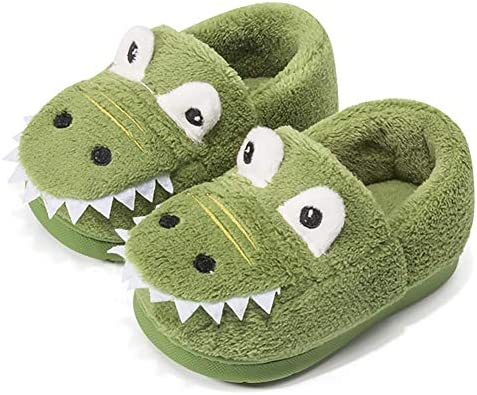 Toddler Boys Girls Dinosuar Slippers Warm Fur Cute Dinosuar House Shoes Indoor Bedroom