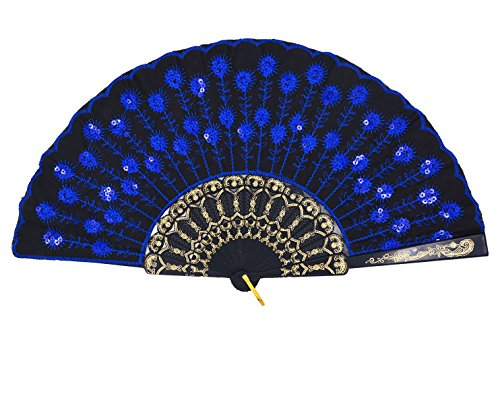 Amajiji Folding Fans for Women,Handmade Elegant Colorful Embroidered Flower Peacock Pattern Sequin Fabric Folding Fans (Dark Blue)