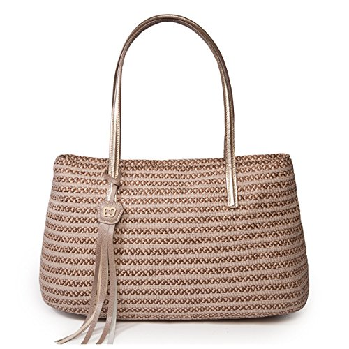 Eric Javits Stripe (Eric Javits Luxury Fashion Designer Women's Handbag - Dame Brooke - Bark)