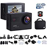 Awaytoy 4K WIFI Sports & Action Video Camera 2.0 LCD Novatek 96660 98ft Diving Mode with Carrying Case for Diving Cycling Helmet Motorcycle Drone Snorkel Black