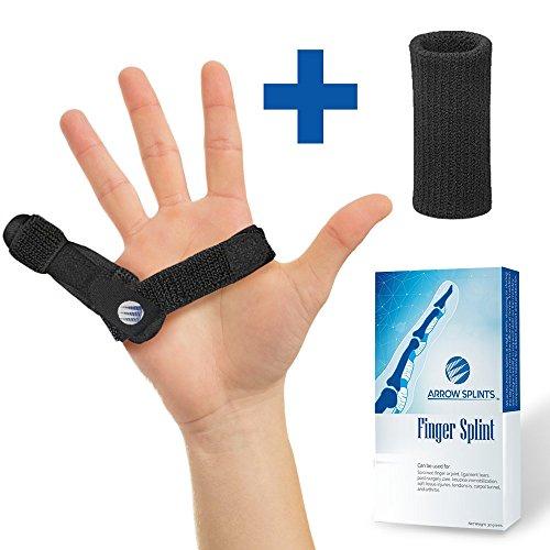 Arrow Splints Mallet Finger Splint | Trigger Finger Brace fits Pinky Finger, Index, Middle, Ring, Thumb Arthritis Pain Relief, Straightening, Broken Finger Support, Knuckle Immobilizer +Bonus Sleeve