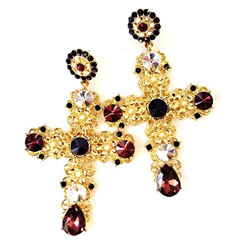 [Byzantine Baroque Style Mini Pearls Beads Blood Red Crystal Deco Filigree Gold Cross Earrings] (Butterfly Gold Cross)