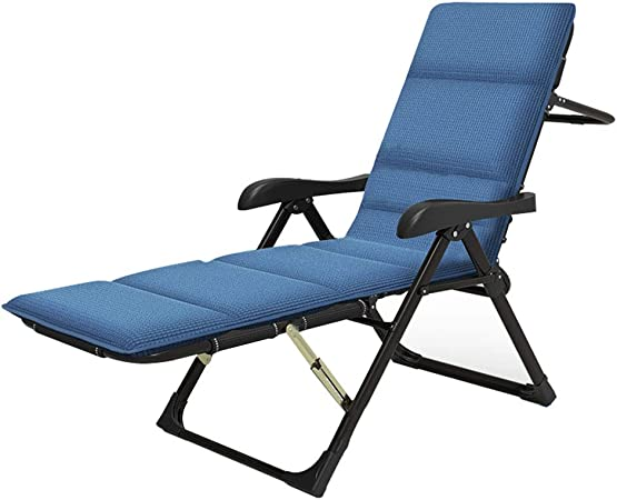 SACKDERTY Deck Chairs Foldable Patio Garden Sunloungers with Removable Headrest and Cotton Pad Adjustable Sunbed Office Break Chair