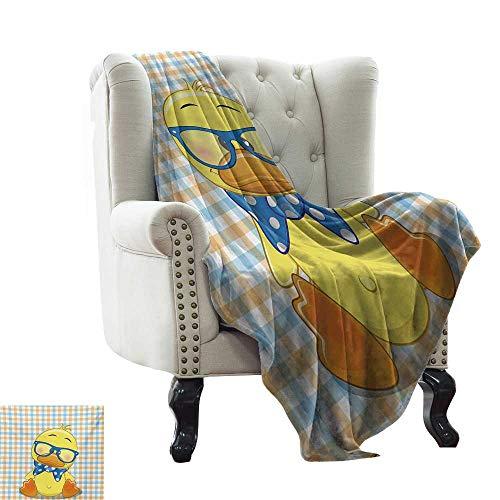 Travel Blanket Cartoon,Hipster Boho Baby Duck Dotted Bow Cool Free Spirit Smart Geese Artsy Design,Orange Yellow Blue Super Soft Light Weight Cozy Warm Plush Hypoallergenic -