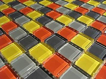 Fliesentopshop Glasmosaik Mosaik Fliesen Bunt Mix 8mm Klarglas Rot