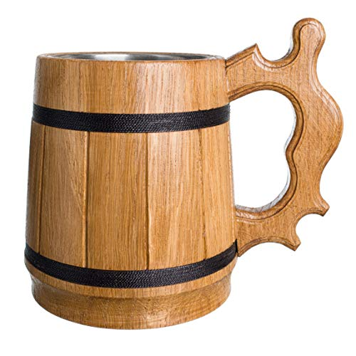 (Handmade Beer Mug Oak Wood 0.6L 20oz Stainless Steel Cup Gift Natural Eco-Friendly Retro Beige)