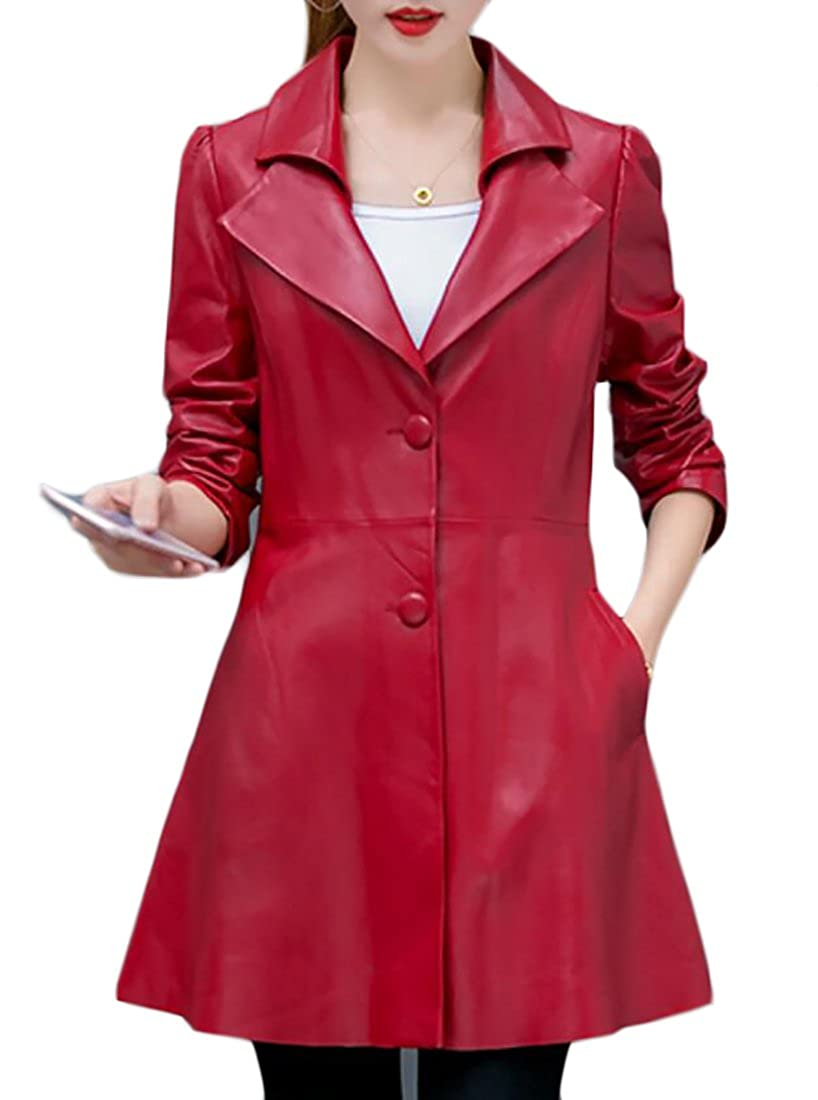 Domple Women's Slim Fit Lapel Faux Leather PU Stylish Trench Coat Jackets