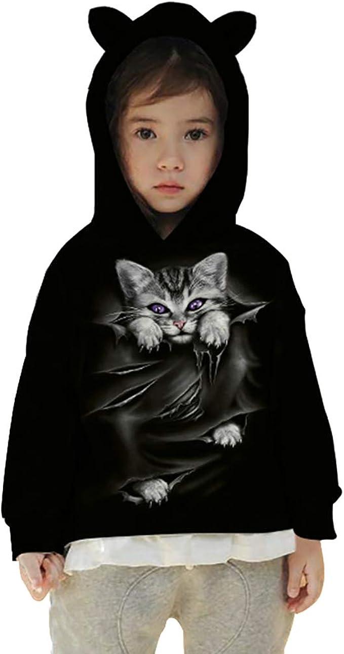 Felpa con cappuccio unisex 3d stampa gattini gatto cuore animali pullover per bambini ragazzi ragazze