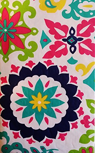 Summer Fun by Elrene Abstract Floral Designs Vinyl Flannel Back Tablecloth (White Background, 52