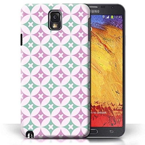 Etui / Coque pour Samsung Galaxy Note 3 / Rose vive / vert conception / Collection de Kaléidoscope