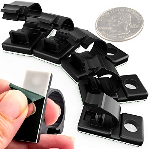(Pro-Grade, Adhesive-Backed Cable Clamps Combo Pack of 100. Multi-Size Set of 20x 4, 6, 8, 10 and 12 mm Black Clips for Wire Management and Cord Organization. Tools-Free Install for Home Or Office.)
