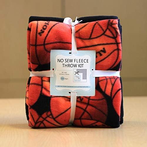 [해외]Basketball No-Sew Throw Fleece Fabric Kit (72x60) / Basketball No-Sew Throw Fleece Fabric Kit (72x60)