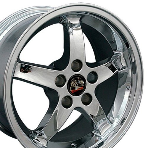 17x9 Wheels Fit Ford Mustang - Cobra R Style Deep Dish Chrome Rims - SET