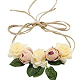 Love Sweety Nature Flower Headband Floral Crown Wreath for Lawn Wedding (Ivory)