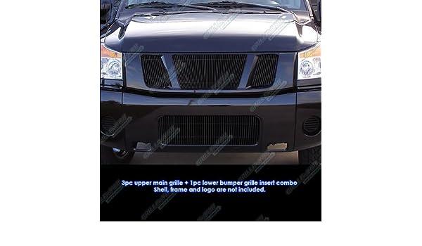 Fits 2008-2014 Nissan Titan Black Vertical Billet Grille Grill Combo Insert