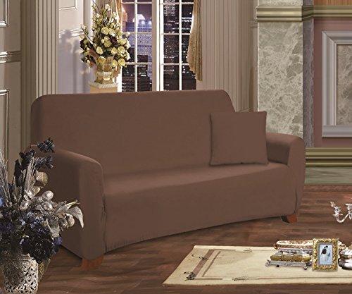 - Elegant Comfort Luxury Furniture Jersey STRETCH SLIPCOVER, Sofa Chocolate