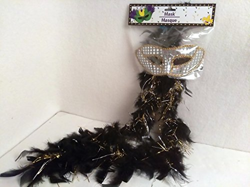 [Masquerade Mardi Gras Party Mask Metallic Mardi Gras Beads Beaded Necklace Set Silver & Black BOA] (Jumbo Mardi Gras Beads)