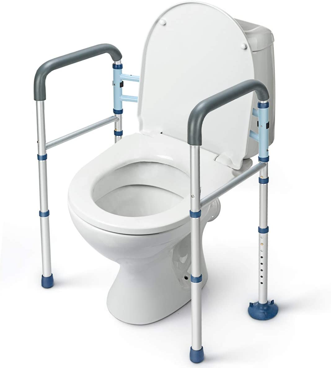 Amazon Com Greenchief Stand Alone Toilet Safety Rail With Free Grab Bar Heavy Duty Toilet Safety Frame For Elderly Handicap And Disabled Adjustable Freestanding Toilet Handrails Helper Fit Any Toilet