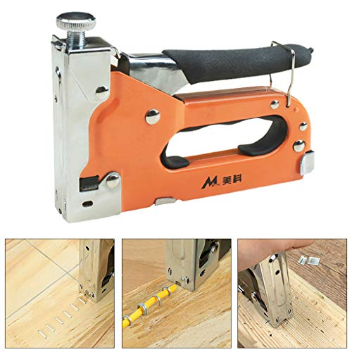 AIUSD Clearance , 3 In1 Manual Stapler Hand Tool for Door/T/U Type with 600 Staples (600 Accent Furniture)
