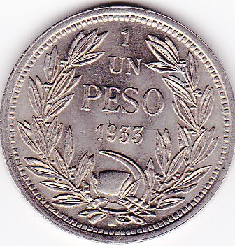 1933 Chile 1 Peso Coin
