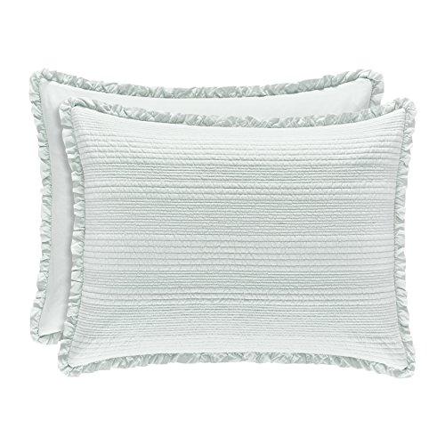 Five Queens Court Hattie Country Chic 100% Cotton Ruffle Flange Quilted Sham, Standard, Aqua