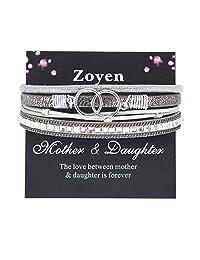 Mother Daughter Bracelet Bead Infinity Heart Cuff Boho Wrap Leather Bracelet Gift Jewelry for Women