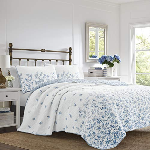 Laura Ashley Flora Quilt Set Full/Queen Blue (Blue White And Quilt)