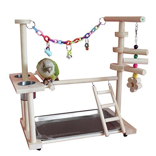 Bird Play Gym (QBLEEV Parrot Playstand Bird Playground Wood Perch Gym Playpen Ladder with Toys Exercise Play (Include a Tray) (16