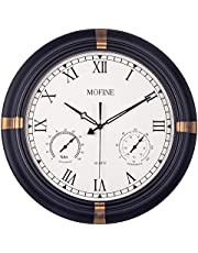 Waterproof Outdoor Clock, Metal Wall Clocks with Thermometer & Hygrometer Combo, Silent Battery Operated Decorative Large Clock for Garden/Patio/Pool/Fence, Roman Numerals, 18 in, Black Golden