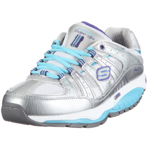 Skechers Shape Ups Womens Kinetix Response SRT Sneaker,Silver/Turquoise (8.5, Silver/Turquoise)