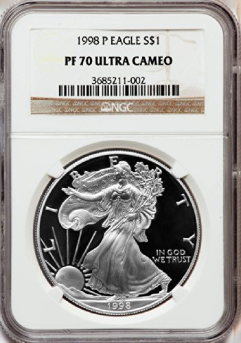 1998 P American Silver Eagle Dollar DCAM NGC PF70