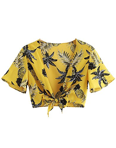 Floerns Women's Summer Printed V Neck Bow Tie Crop Top Blouse Yellow M