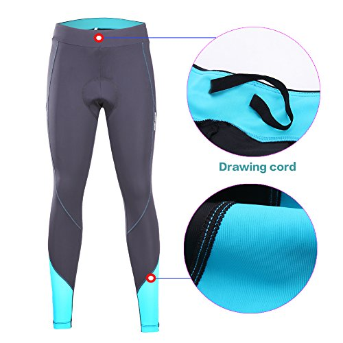 beroy Women 3D Padded Cycling Pants with Adjust Drawstring,Ladies Compression Tights Bike Pants(S Blue) by beroy (Image #2)
