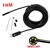 Mimgo Endoscope Android USB Borescope 7mm Waterproof Inspection Snake Camera with 6 Leds and 10M Cable (Black)