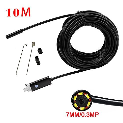 Mimgo Endoscope Android USB Borescope 7mm Waterproof Inspection Snake Camera with 6 Leds and 10M Cable (Black) by Mimgo Store